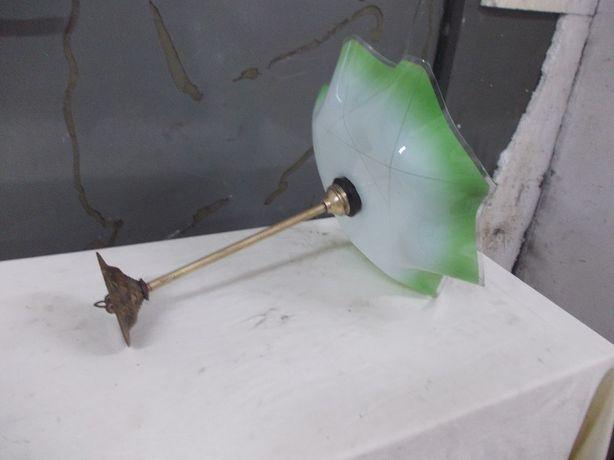 Stara lampa wisząca szkło i mosiądz
