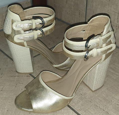 Geox złote sandały na obcasie r. 39