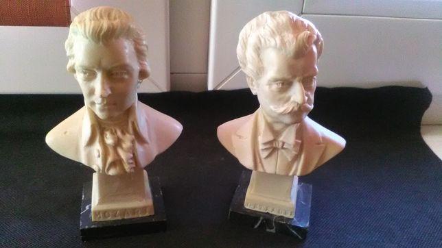 Figury z alabastru Straus i Mozart i zegarek Atlantic Super De Lux.