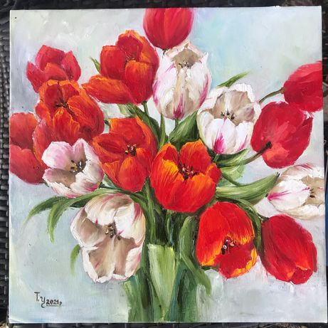 Картина маслом подарунок  8 березня подарок к 8 марта картина тюльпаны