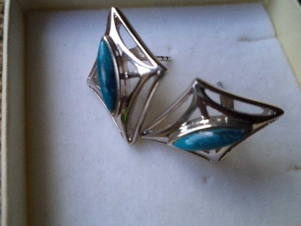 Kolczyki ze srebra z turkusami