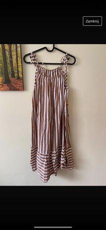 Sukienka letnia na naramkach w paski trapezowa