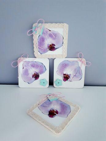 Storczykowe NOWE podkładki pod kubki 4 sztuki zestaw handmade