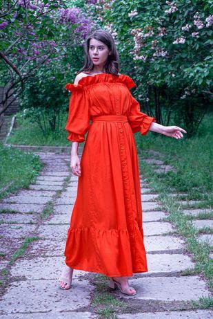 Льняное платье на вечер, выпускной, торжество по оптовой цене!