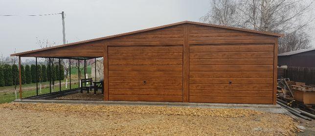 Garaz blaszak drewnopodobny orzech 9.50 x6 blachodachówka +rynny