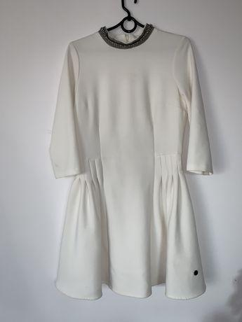 biała sukienka z golfem S