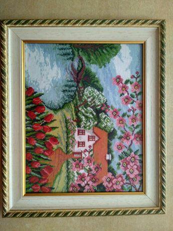 Картина вишита, сувенир, картина вышитая в рамке, подарок