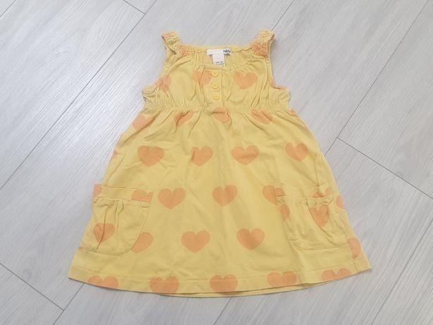 Sukienka bawełniana letnia f. H&M - rozm. 80-86 cm (12-18 m)