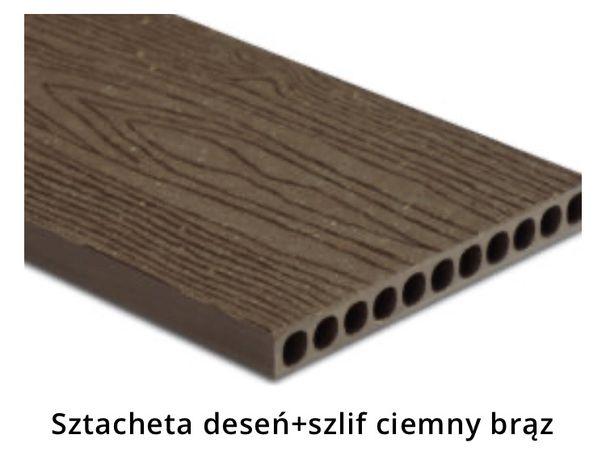 Sztacheta kompozytowa Windoor Ciemny brąz deseń szlif 3,6m. Od ręki.