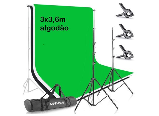 Fundos algodão estúdio fotografia vídeo + suportes 3x3,6m kit