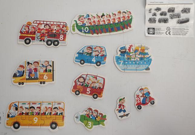 Puzzle de Transporte e Números