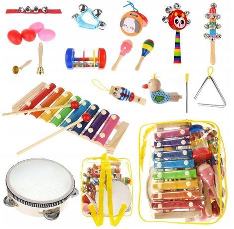 Drewniane Instrumenty Zestaw dla Dzieci + Plecak