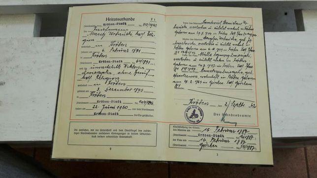 Dokument niemiecki Józef Zwierzycki 1942