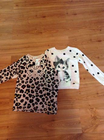 Sweterk pantera h&m 134/140 nowy, bluzka kotek h&m 122/128