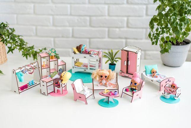 НОВИНКА мебель для куклы ЛОЛ NestWood 3 В 1 Спальня+Гостиная+Детская
