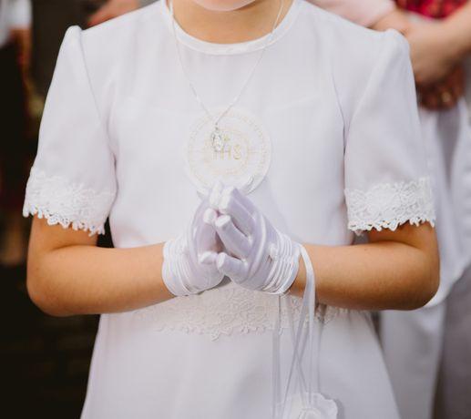 Sukienka komunijna, bolerko, torebka
