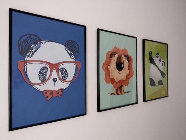 Tryptyk trzy obrazki do pokoju dziecięcego obraz na canvie
