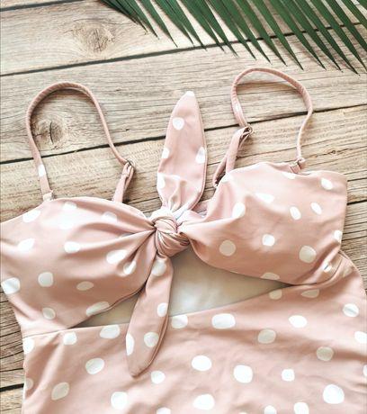 Monokini pudrowy różowy retro S Nowy