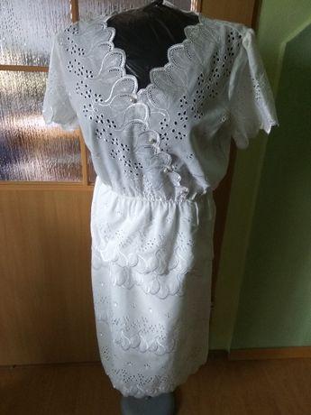 Zestaw sukienka + bluzka lata 80 biały komplet elegancki 40/42