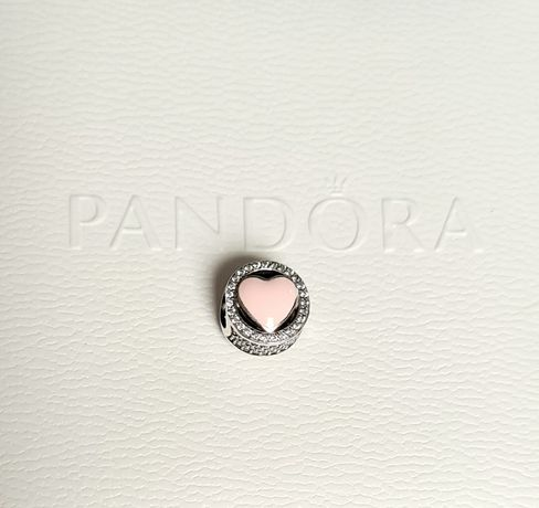 Charms różowe serce srebro próba 925 do Pandora