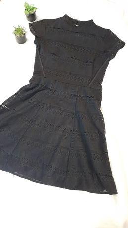 Czarna ażurkowa/koronkowa sukienka