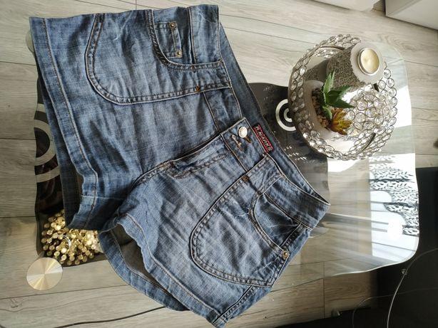 Krótkie spodenki jeansowe . Szorty dżins M-L. 36-38.