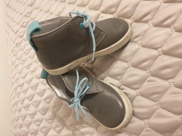 Buty botki buciki ryłko 22 skórzane szare