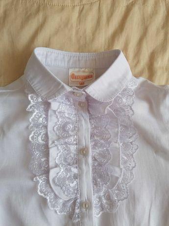Блузка школьная с коротким рукавом для девочки, р.140