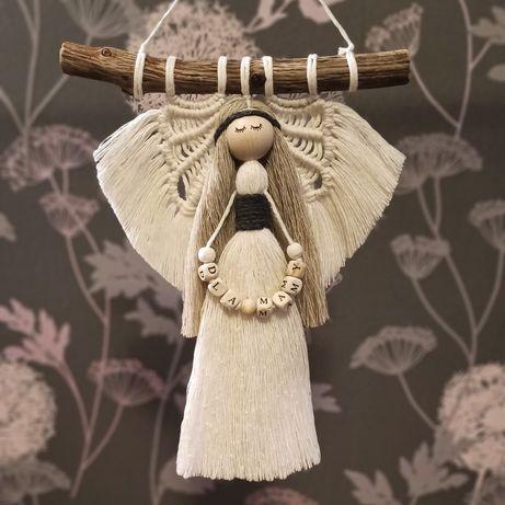 Makrama anioł - 25 cm - personalizowany - imię