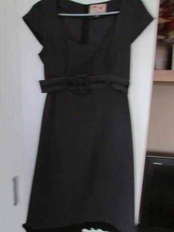 Grafitowa sukienka biurowa z paskiem 38
