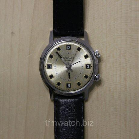 Часы наручные механические SEKONDA с механическим будильником.