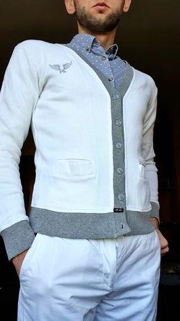 Светр чоловічий на гудзики білий кардиган / свитер мужской на пуговицы