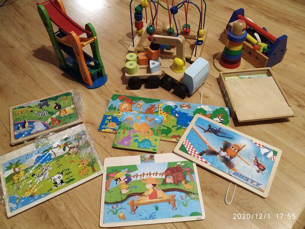 Zestaw drewnianych zabawek Ikea dźwig mula wieża puzzle
