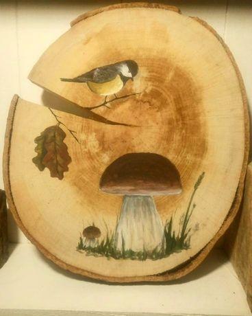 Obraz/Grzybek/ptak na plastrze drewna/drewnie/handmade