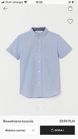 H&M nowa koszula chłopięca z krótkim rękawem rozm. 164