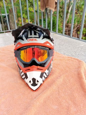 Capacete oneall motocross/enduro com óculos 100%