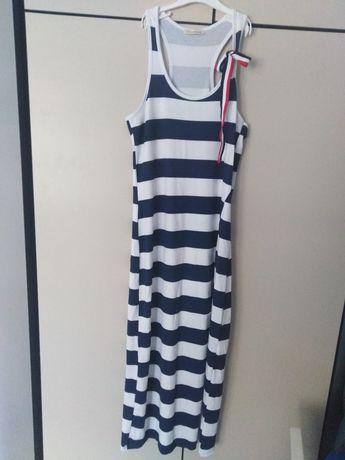 Sukienka naramki bokserka paski marynarska długa rozporek S M
