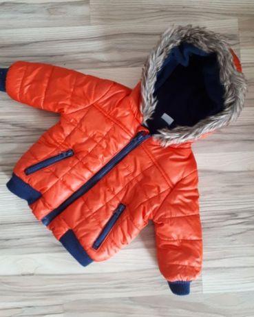 Zimowa kurtka pikowana pomarańczowa F&F 6-9 74 cm na polarze futerko