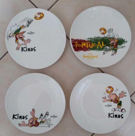 Conjunto de 4 pratos de loiça do Euro 2004
