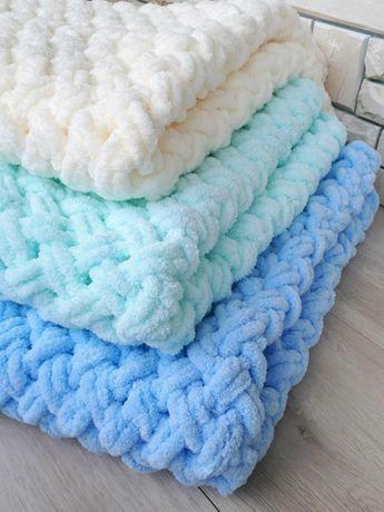 Детский плед вязаный плюшевый, детское одеяло, покрывало, ручная работ