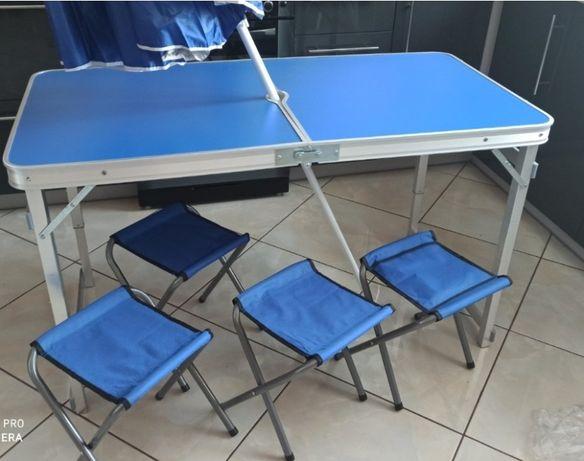 Усиленный стол для пикника с 4 стульями синий и другие + зонт