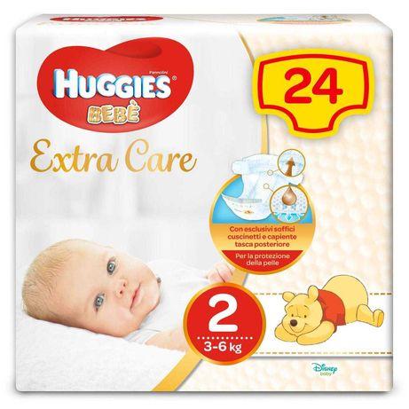 Подгузники huggies extra care 2, 3-6 кг (24шт.)  2 упаковки