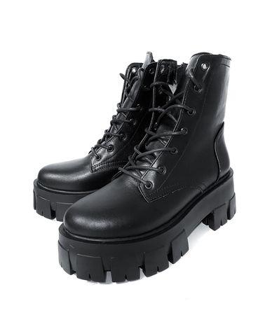 Ботинки зимние на массивной подошве натуральная кожа