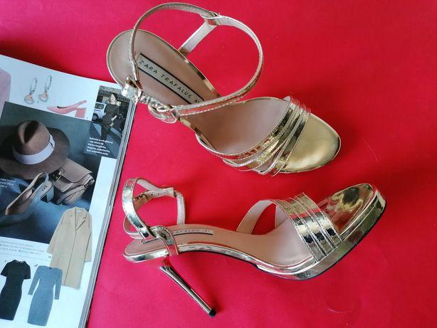 Zara złote szpilki sandały impreza Wizytowe 41 buty