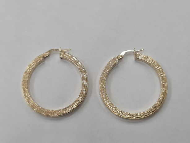 Piękne, owalne złote kolczyki damskie/ 585/ 3.79 gram/ Motyw Grecki