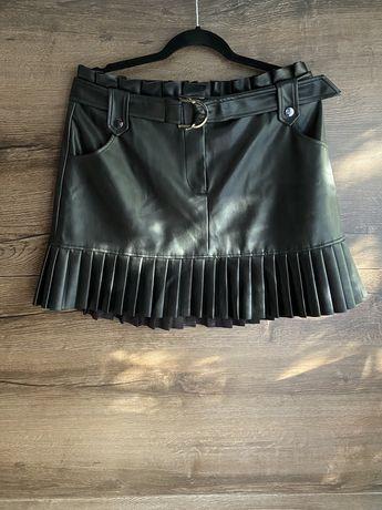 Spódniczka skórzana spódnica mini krótka plisowana z zakładkami xl xxl