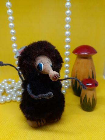 Мышка землеройка игрушка СССР натуральный мех, дерево, 11 см
