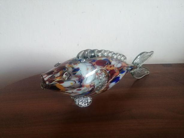 Szklana ryba na telewizor kolorowe szkło z PRL 37 cm