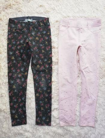 Legginsy Zara i H&M 128 kwiatki róż gwiazdki