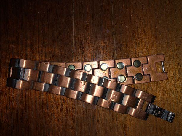 Медный браслет с магнитами. Мужской, но можно и женский